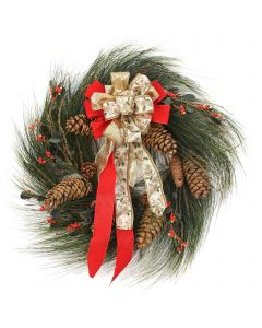 Long Pine Wreath with Berries and Ribbon