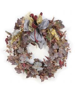 Frosted Wreath With Gold Cedar Accents and Ribbon