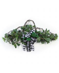 Vine Wall Hanging with Olives and Pittosporum with Black and Green Ribbon