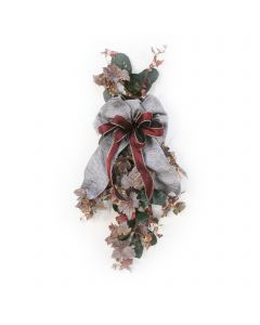 Frosted Grape Leave Swag With Laurel and Ribbon (Pack 2)