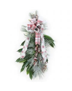 Frosted Snow Pine with Berries and Ribbon (Pack 2)