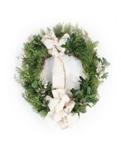 Cedar Wreath With Pittosporum and Glitter Locust and Ribbon