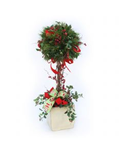 Holiday Topiary with Holly and Ribbon