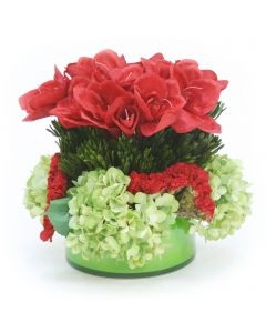 Red Amaryllis with Green Hydrangeas and Celosia in Green Glass Bowl