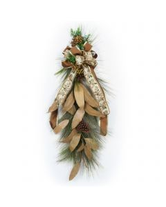 Pine Swag with Garndria Leaf with Holly Ribbon (Set of 2)