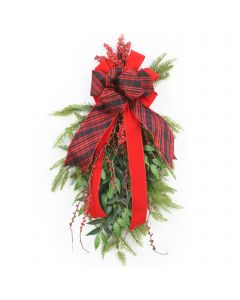 Pine Swag with Berries and Buffalo Plaid Ribbon