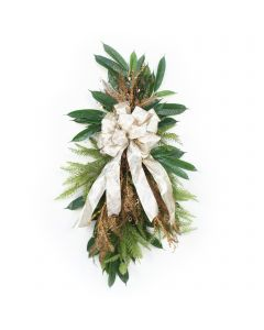 Pine Swag with Bronze Fern and Ivory Ribbon