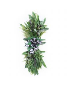 Pine Swag with Black Berries and Green Accents with Black and White Ribbon