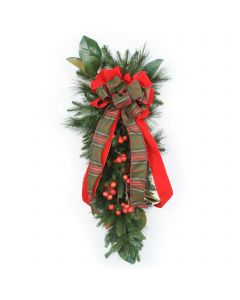 Pine Swag with Magnolia Foliage and Cherries and Christmas Plaid Ribbon