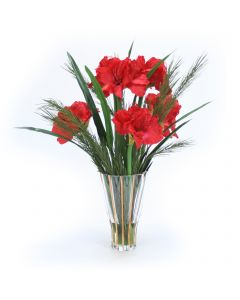 Red Amaryllis with Pine in Tall Fluted Vase
