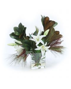 White Casablanca Lilies with Magnolia Foliage and Pine