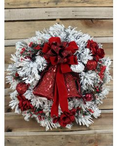 Flocked Wreath with Red Amaryllis and Ornaments
