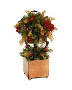 Holiday Pine Topiary Mixed with Ornaments and Ribbon in Gold Box Container