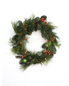"28"" Magnolia Leaf and Fir Wreath with Red Berries Pine Cones and Green Ornament"