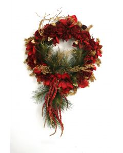 "27"" Red Rose Pine & Amaryllis Wreath with Red Berries and Gold Glittered Accents"