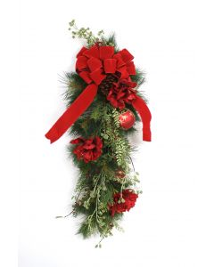 "30"" Green Pine Swag with Pine Cones Red Flowers Berries Ornaments and A Red Ribbon"