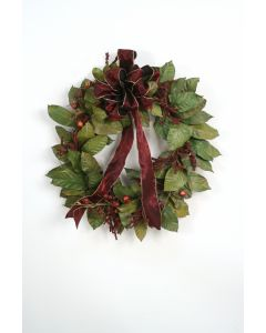 Magnolia Leaf Wreath with Crimson Berries and A Crimson Ribbon with Gold Trimming