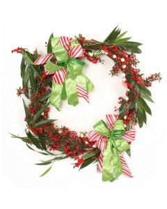 """34"""" Green Vine Wreath with Red Berries and Candy Garland"""