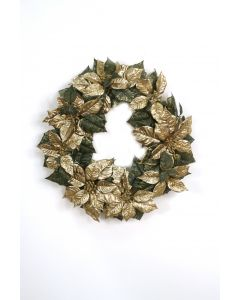 Gold Poinsettia Glitter Wreath