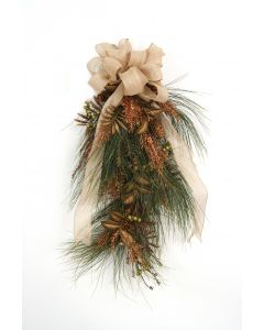 Pine Swag with Pine Cones, Gold Glittered Cypress, Green Berries Gold Leaves and Topped with A Gold Burlap Ribbon