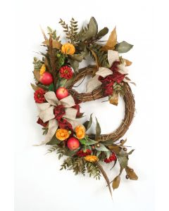 Double Fall Wreath with Feathers Red Apples Green Leafy Branches and Gold/Red Garden Flowers with Burlap and Red Ribbons