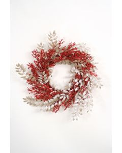 Red and Champagne Glittered Wreath