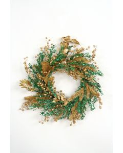 Green and Gold Glittered Wreath with Gold Berries, Cypress and Leaves and A Gold Ribbon