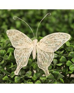"""3"""" Beaded Butterfly with Wire in Pearl"""
