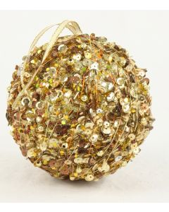 100mm Sequin Ball Ornament Gold