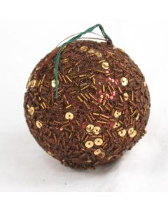 80mm Sequin Ball Ornament Bronze