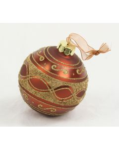 100mm Beaded Glass Ball Ornament in Rusty Bronze