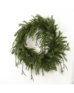 "30"" Drooping Pine Wreath in Green"