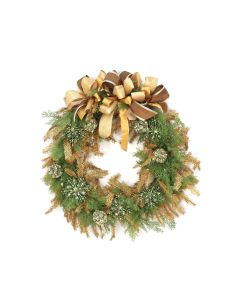 Green Cedar Wreath with Gold Glittered Garland and Green Ornaments