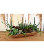 Burgundy Hen and Chicks, Succulents and Aloe Vera in A Wood Dough Bowl