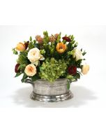 Mixed Floral of Roses, Hydrangea and Tulips in Pewter Newport Planter