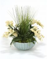 White Orchids in Pool Blue Earthenware Bowl