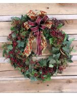 """27"""" Ivy Wreath with Burgundy Berries with A Green and Burgundy Swirl Ribbon"""