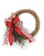 Christmas Wreath With Pine and Berries and Ribbon (Pack 2)