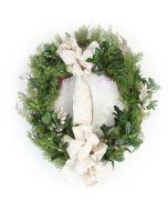 Cedar Wreath with Pittosporum and Glitter Locust and Ribbon