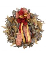 Frosted Grape Leaf Wreath With Gold Glitter Garland and Ribbon