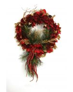 """27"""" Red Rose Pine & Amaryllis Wreath with Red Berries and Gold Glittered Accents"""