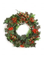 Green Ivy Wreath with Red Orange Berries and Flowers Accented with A Red and Green Plaid Ribbon