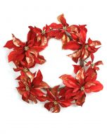 Red Poinsettia Wreath with Red and Gold Glittered Petals