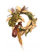 Fall Wreath of Green Hydrangeas Tan Leaves and Grasses with A Rust Brown Ribbon.