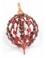 """8"""" Plastic Hanging Oval Ornament Red"""