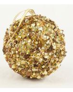 100mm Sequin Ball Ornament Gold