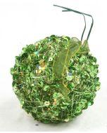 80mm Sequin Ball Ornament Green