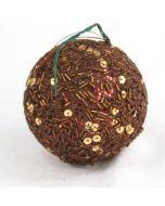 80mm Sequin Ball Ornament Bronze